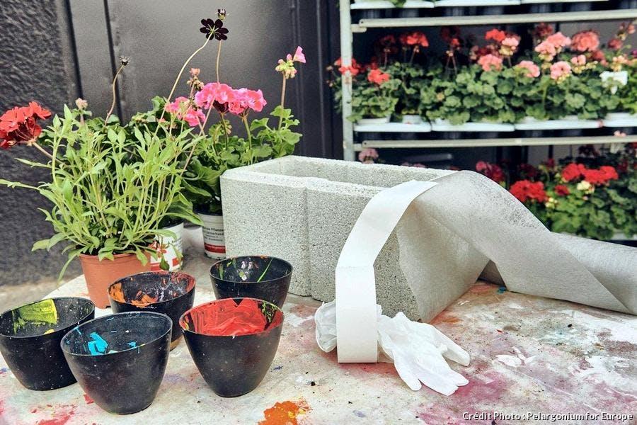 Réalisation d'une jardinière de géraniums fait maison