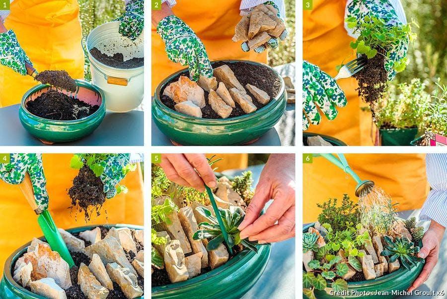 Création d'une mini rocaille en pot