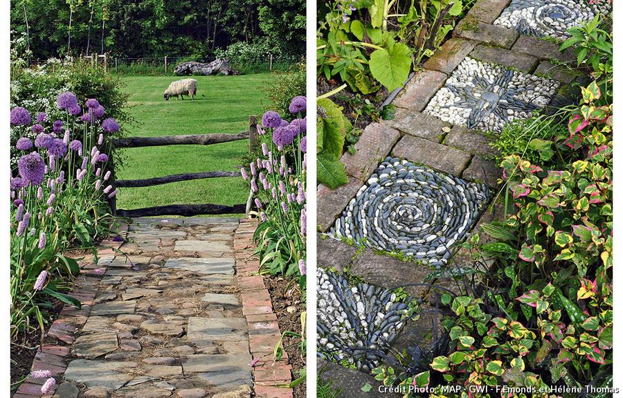 Allée de jardin. Bois, pas japonais, pierres, mosaïques, 4 ...