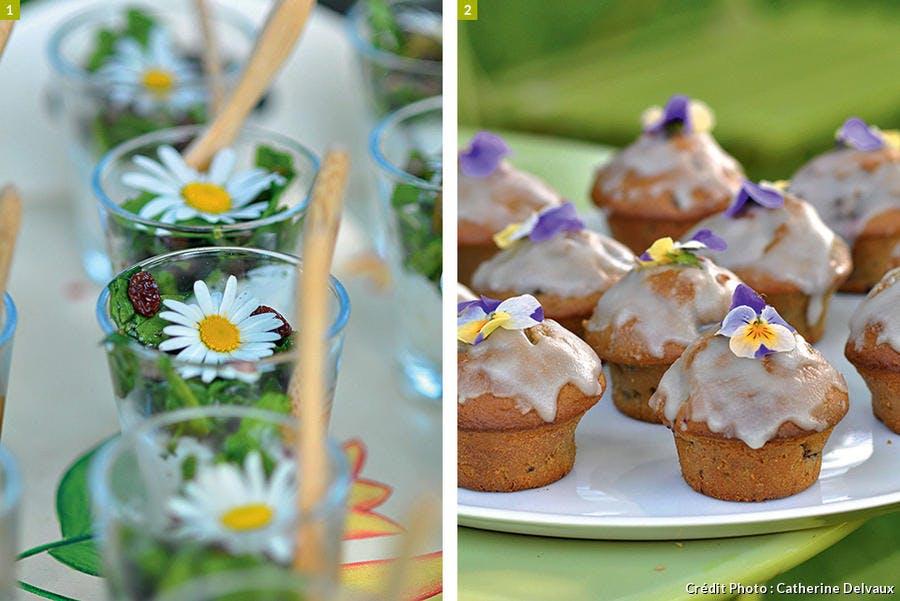 Verrines de fleurs et muffin à la violette