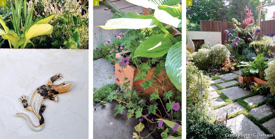 Touche déco, jardinière en bois, et dalles plantées