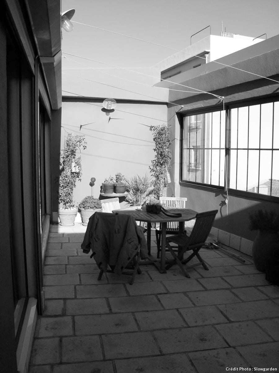 Terrasse à Marseille, avant. Réalisation Slowgarden