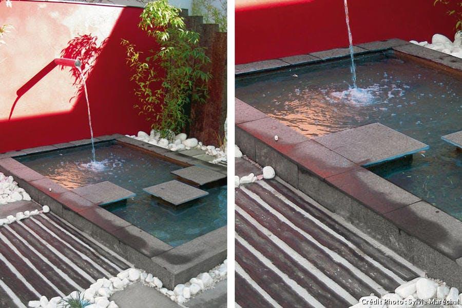 Zoom sur le bassin et l'eau qui s'écoule du tuyau fixé dans le mur