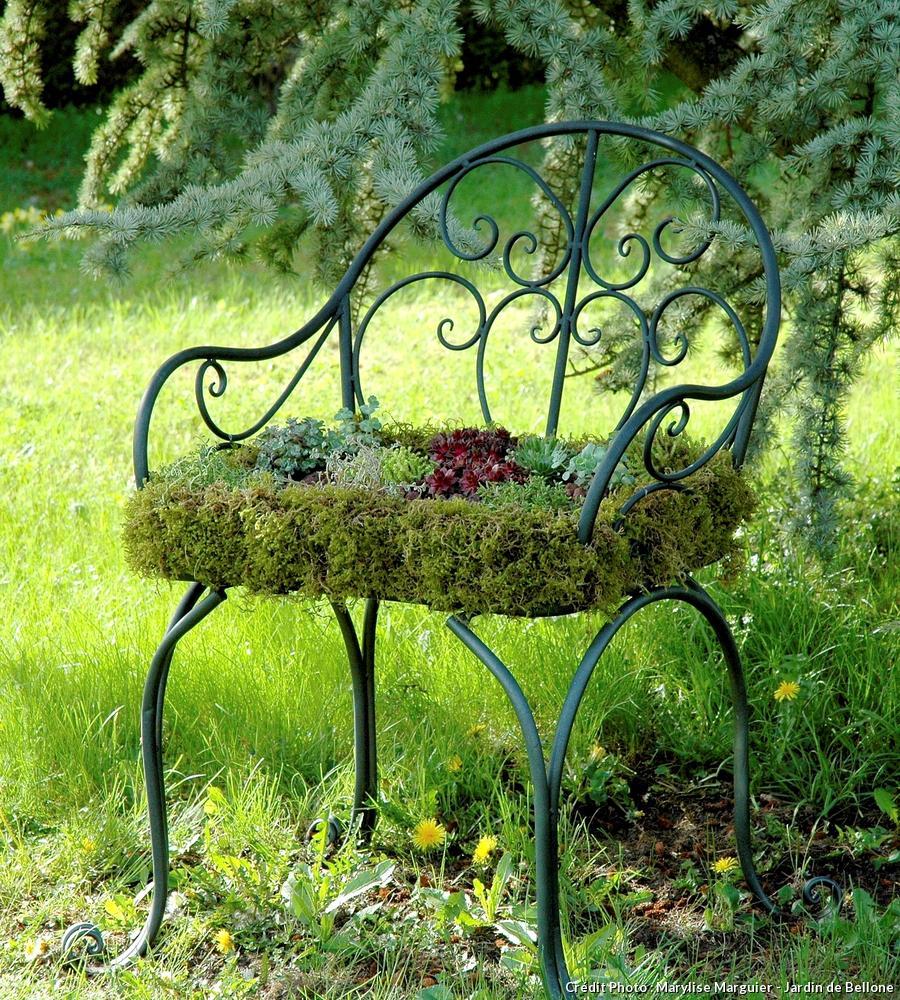 chaise habillée de sedums
