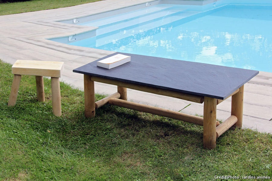 Table En Châtaignier Et Ardoise