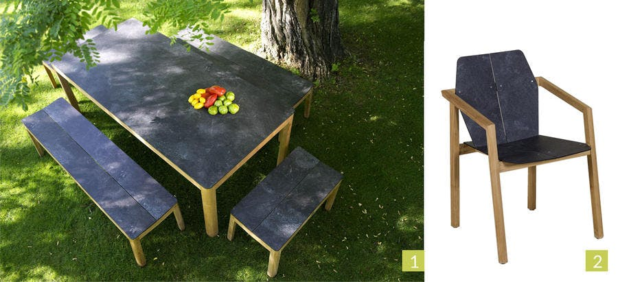 Table teck et imitation granit