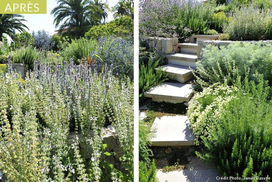 Terrasses fleuries dans le jardin créé par James Basson