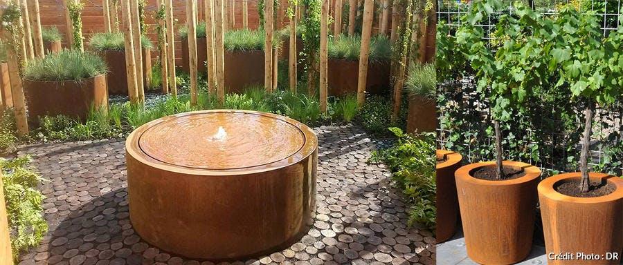 Pots et tables d'eau en acier Corten
