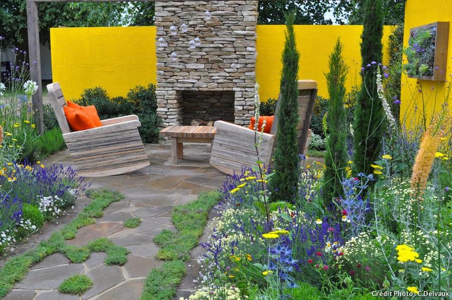 jardin avec mur jaune