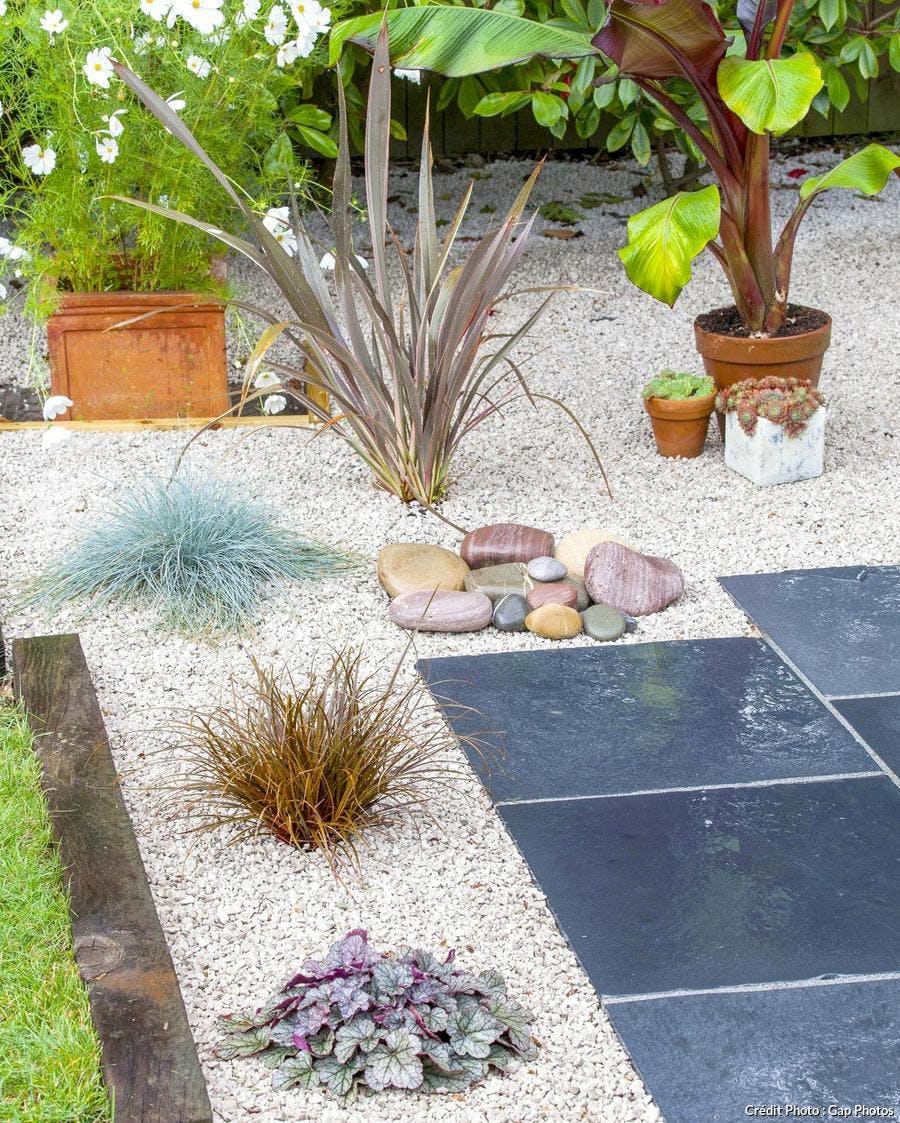 Aménagement d'un jardin sur gravier