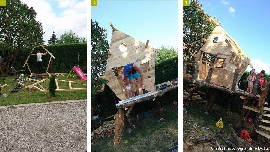 Les détails de la construction de la cabane en bois.