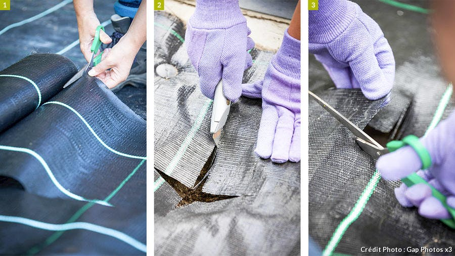 Installation et découpe de la toile pour le jardin en gravier