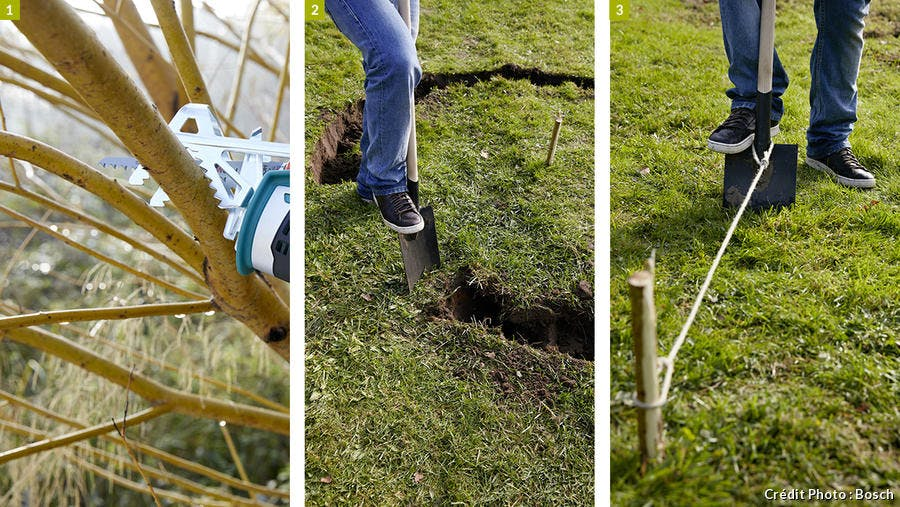 creuser un trou pour fabriquer un tipi au jardin