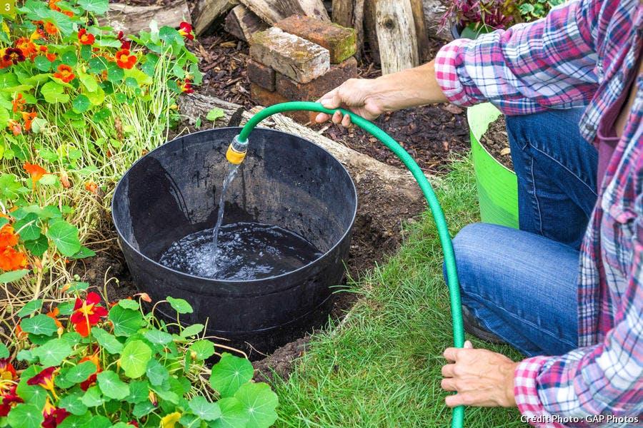 Remplir le bassin d'eau
