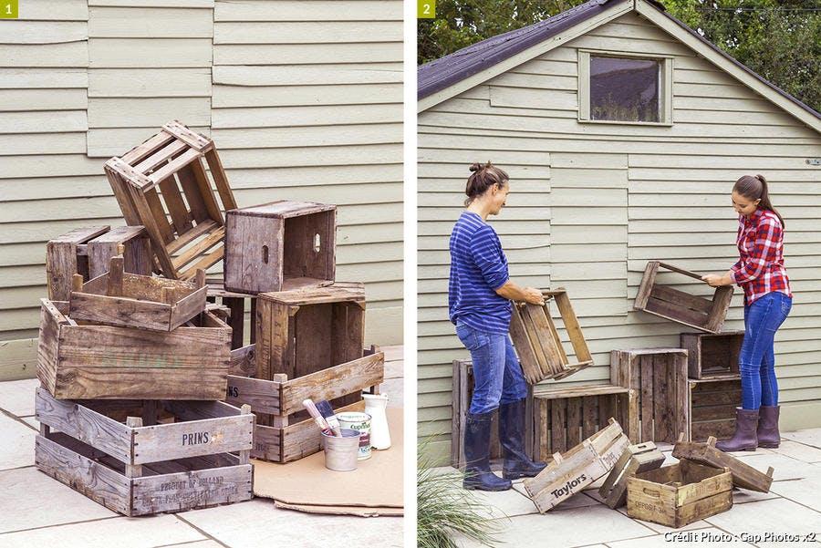 Caisse en bois recyclées en rangements
