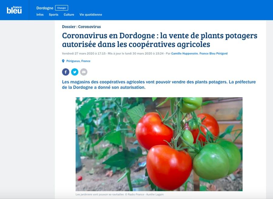 Vente de plants en Dordogne