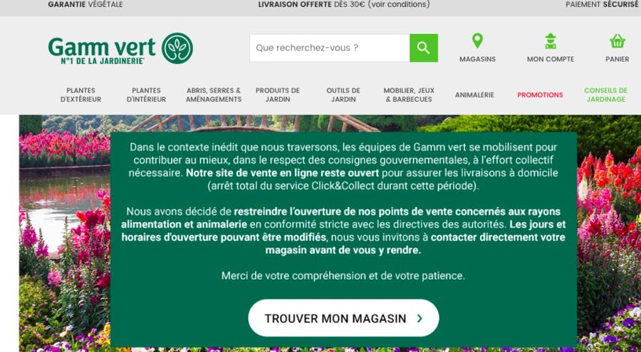 Site de vente de plantes Gamm Vert
