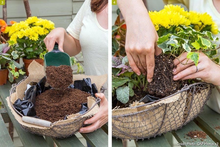Création du panier suspendu pour vos fleurs