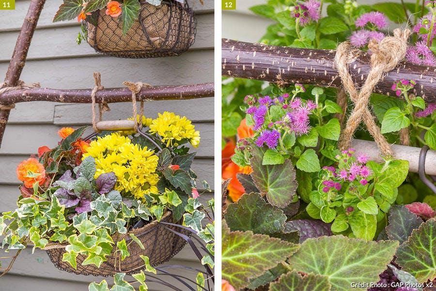 Paniers suspendus de fleurs