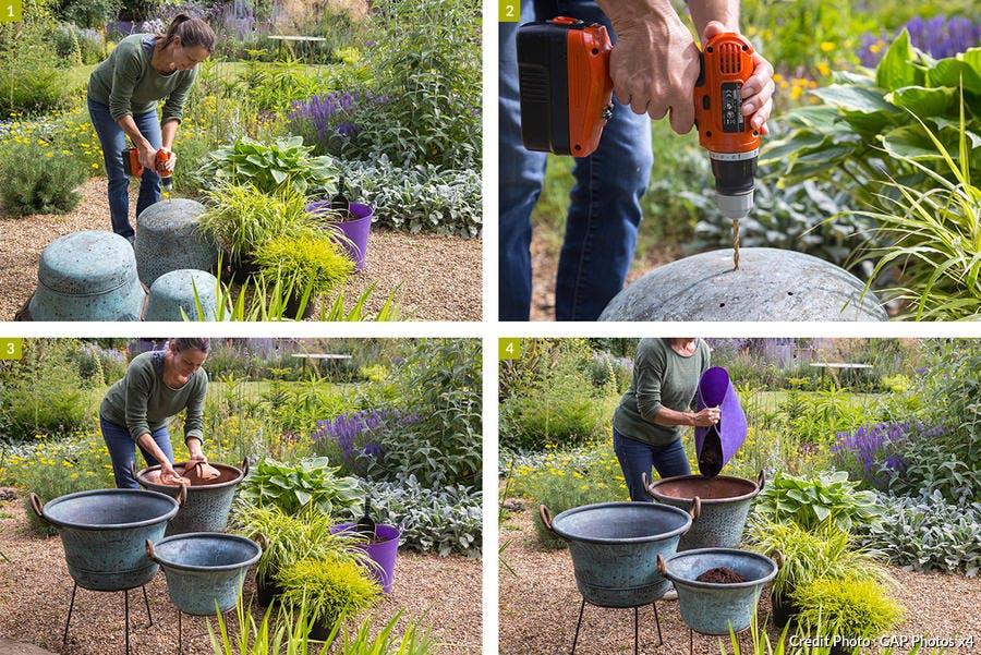 Créer des pots de fleurs dans des chaudrons