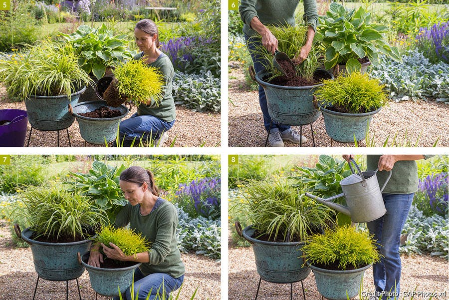 étapes de réalisation des pots dans des chaudrons