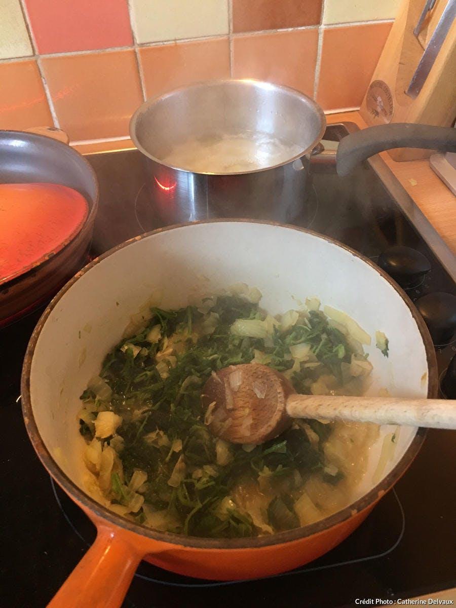Cuisson soupe d'ortie