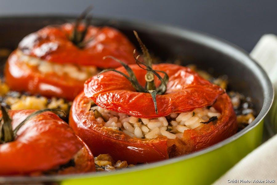 Tomate marmande farcie avec du riz