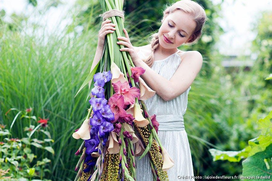 bouquet avec des glaïeuls