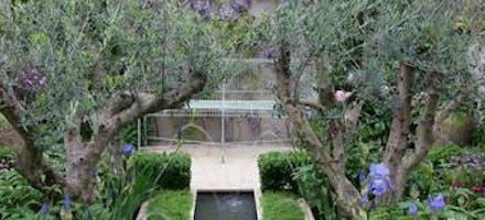 jardin clos de murs autour d'un bassin