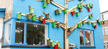 façade de maison avec nichoirs à oiseaux