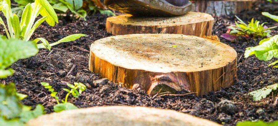 Petits pas japonais en rondins de bois